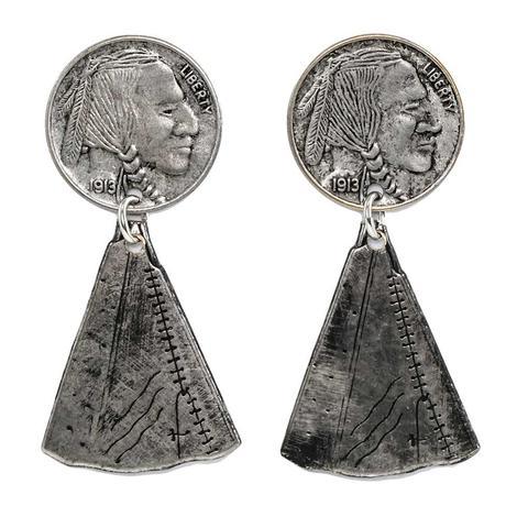 Silver Teepee Coin Earrings