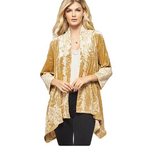 Andree by Unit Gold Velvet Plus Size Women's Kimono