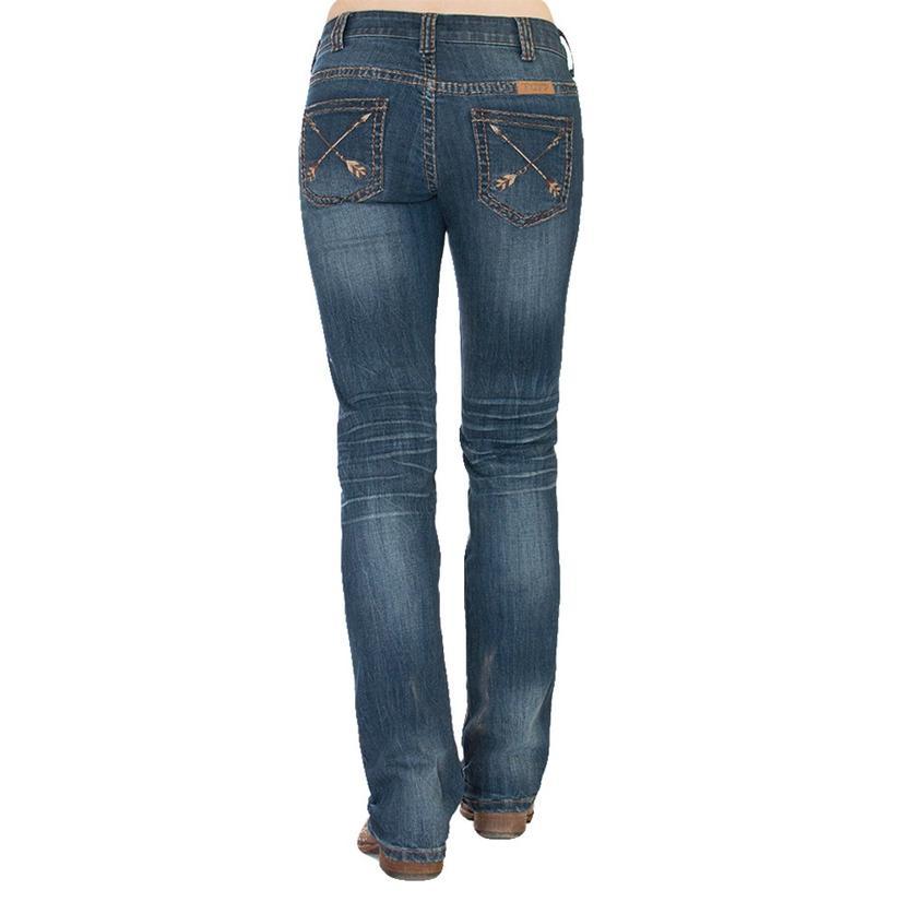 Cowgirl Tuff Women's Peacemeker Brown Stitch Arrow Pocket Jean