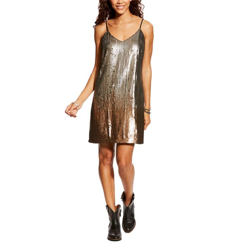Ariat Rocker Sequin Gold Dress