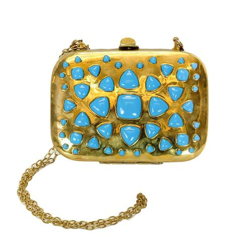 Bendall Brass and Turquoise Clutch