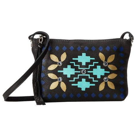 Small Black Zipper Bag with Beige Turquoise Painted Body