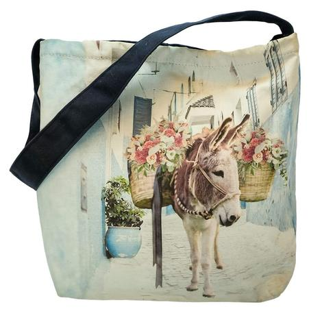 Donkey with Flowers Tote Bag