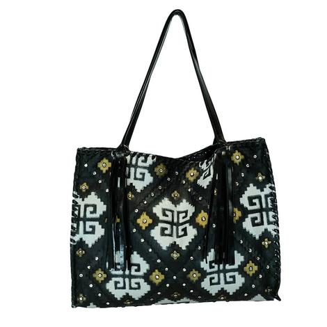 Santa Fe Black with White Tan Design Medium Bag