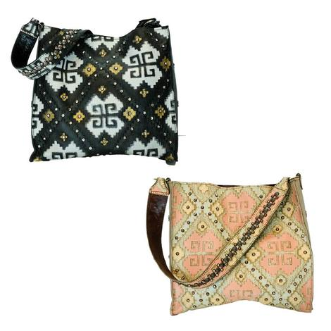 Santa Fe Studded Design with Studded Strap Bag - Black or Beige