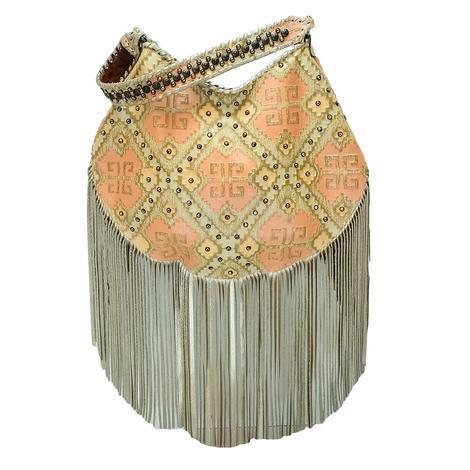 Crescent Santa Fe Tan Melon Studded Bag with Stud Strap