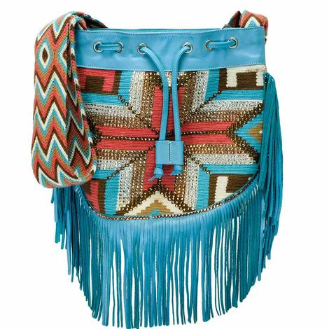 Turquoise Southwest Hand Woven Bag with Woven Strap