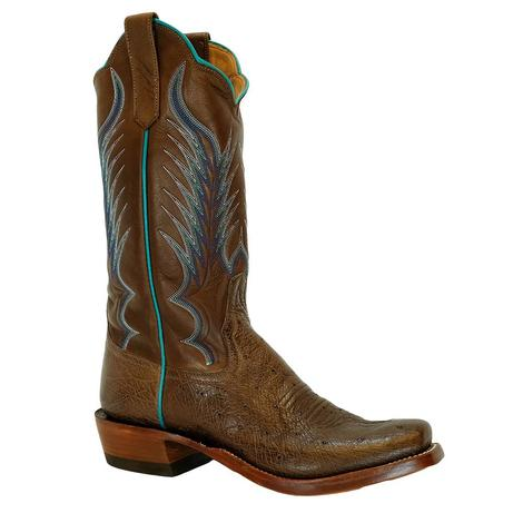 Rios of Mercedes Cafe Americaon Smooth Ostrich Chestnut Remuda Women's Boots