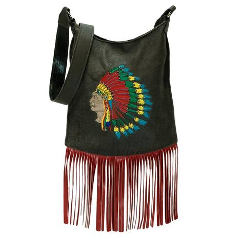 Mini Me Black Embroidered Bright Chief Red Fringed Bag