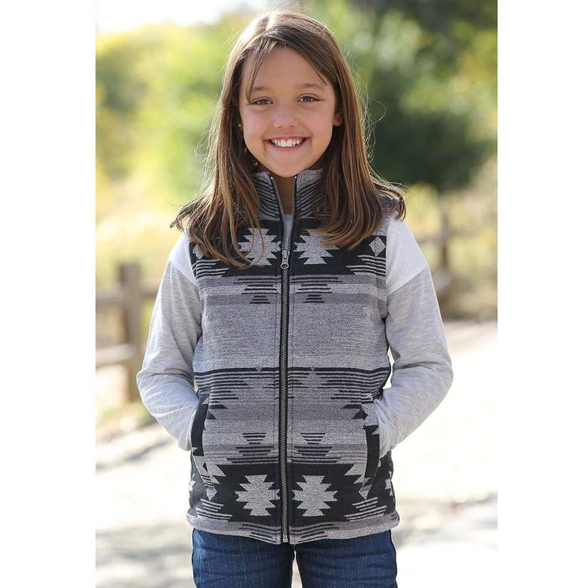 Cruel Girl Grey Black Aztec Zip Up Girl's Vest