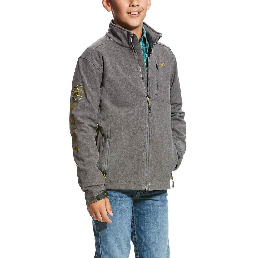 Ariat Charcoal Logo Softshell Boy's Jacket
