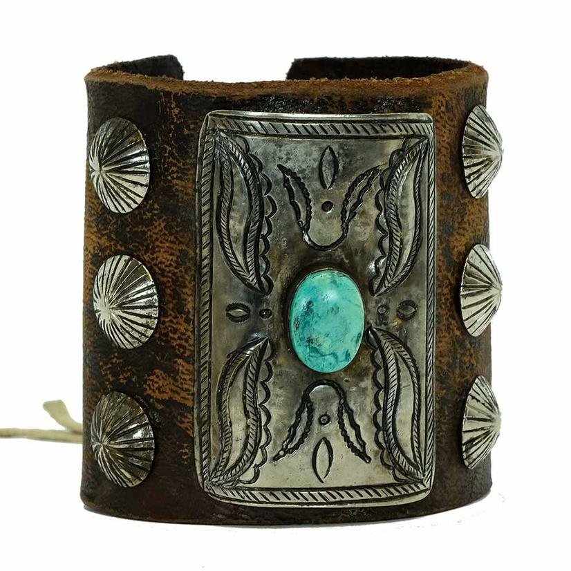Turquoise Silver Leather Tie Cuff