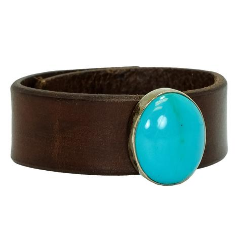 Simple Leather Turquoise Bracelet