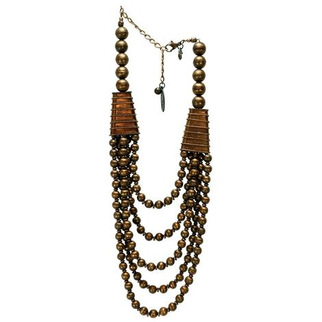 Copper Bead Multi Strand Necklace