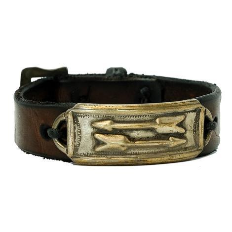 Leather Double Arrow Slim Sterling Silver Buckle Bracelet
