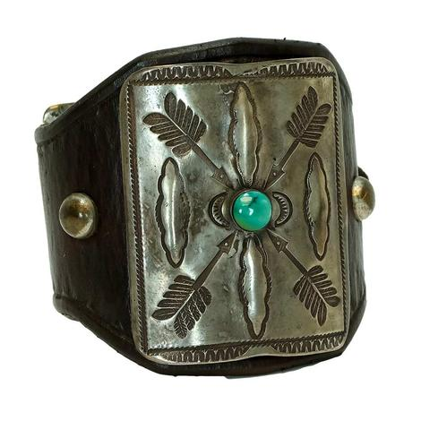 Sterling Silver and Turquoise Quadruple Arrow Large Leather Cuff