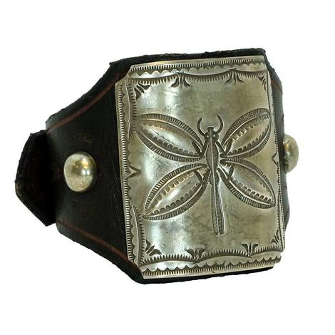 Sterling Silver Dragonfly Large Leather Cuff