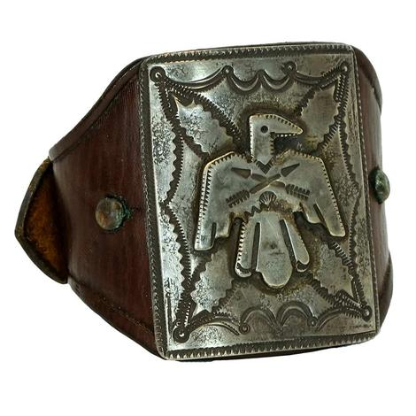 Sterling Silver Thunder Bird Leather Cuff