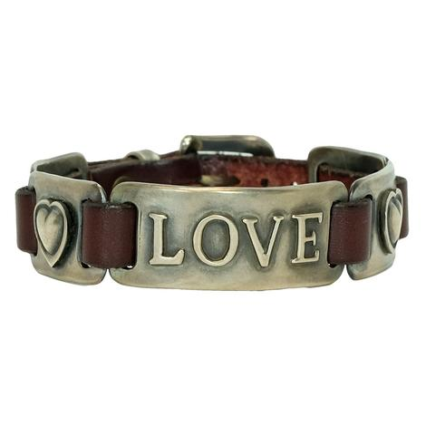 Leather and Sterling Silver Love Buckle Bracelet