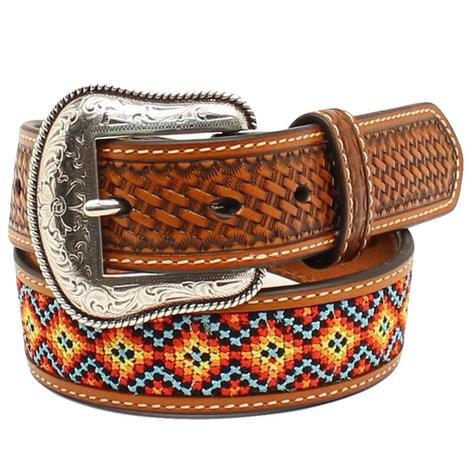 Tan Leather Beaded 1.25in Youth Belt
