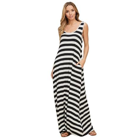 Stripe Reversible Maxi Pocket Sleeveless Black White Striped Women's Dress