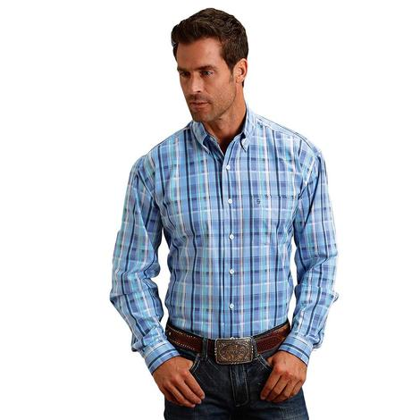 Stetson Blue White Plaid Button Down Long Sleeve Men's Shirt