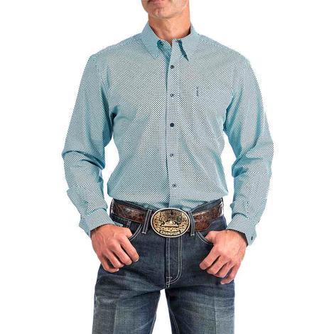 Cinch Blue Navy Polkadot Modern Fit Long Sleeve Buttondown Men's Shirt