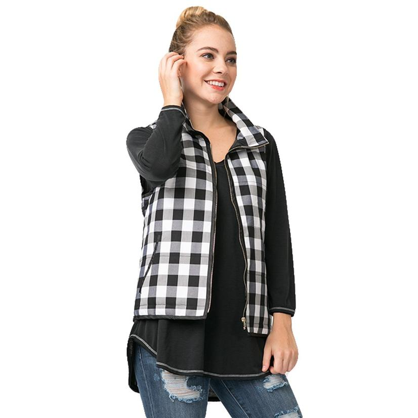 Relaxed Fit Body Black And White Check Women's Vest