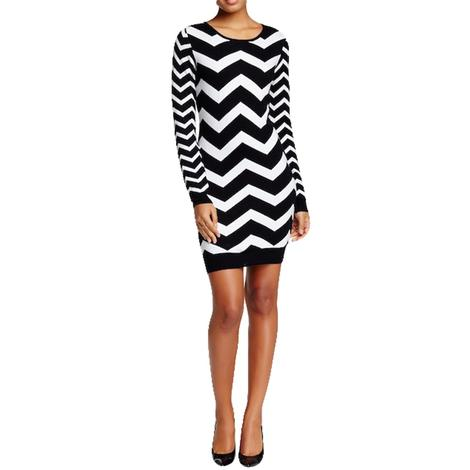Long Sleeve Black and White Chevron Styled Women's Dress