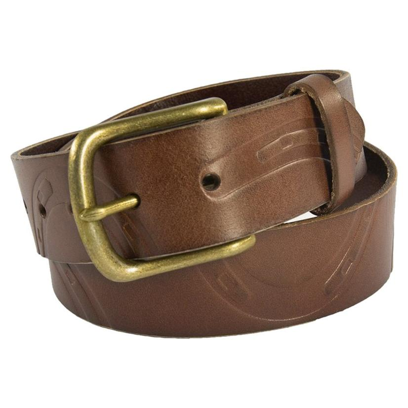Noble Outfitters Women's Pony Print Horseshoe Leather Belt