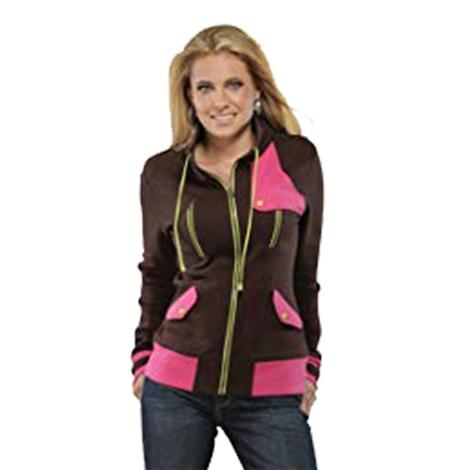 Cruel Girl Long Sleeve Brown Full Zip Mock Neck Fleece Wome's Jacket