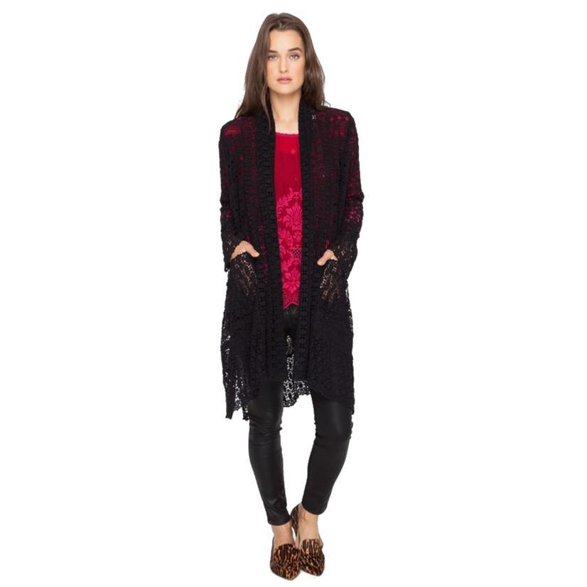 Johnny Was Women's Black Crochet Sweater Wrap