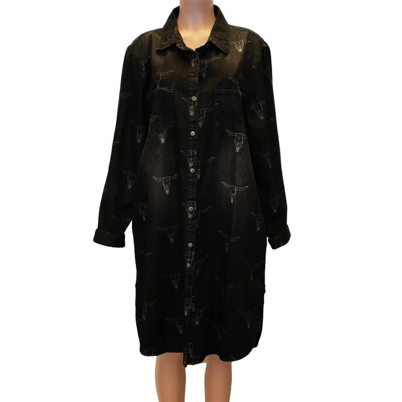 Black Denim Button Down Steerhead Dress