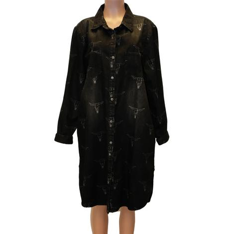 Black Denim Button Down Steerhead Dress