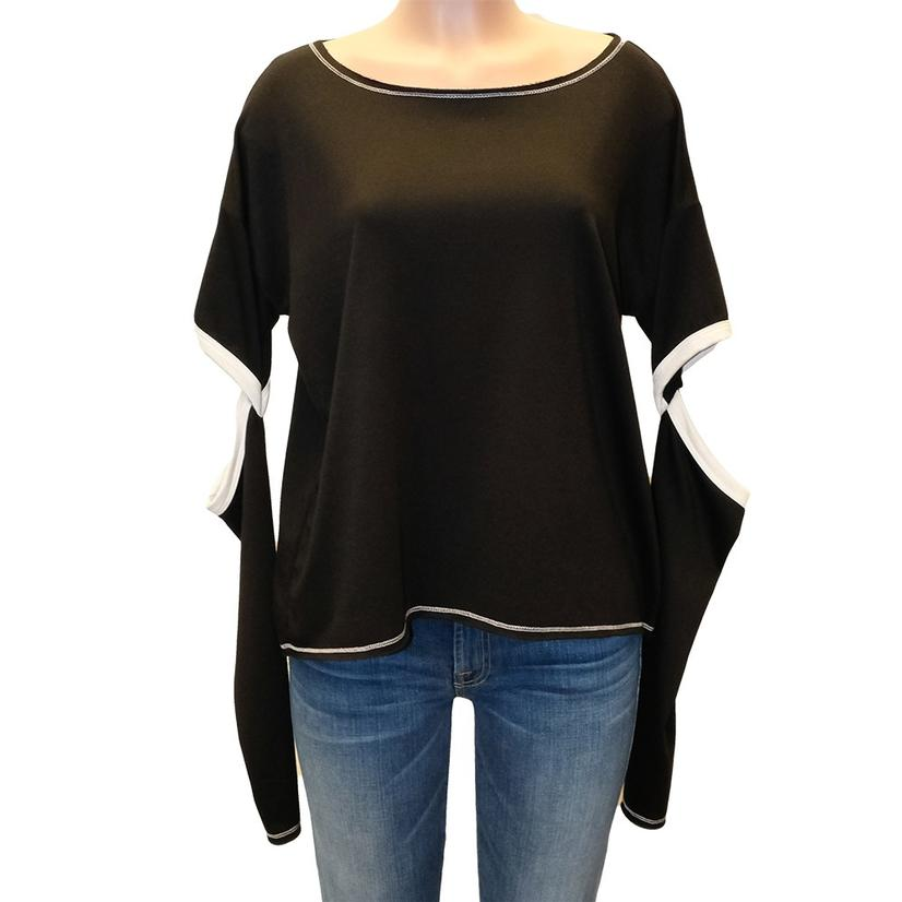 Black And White Elbow Cut- Out Long Sleeve Women's Top