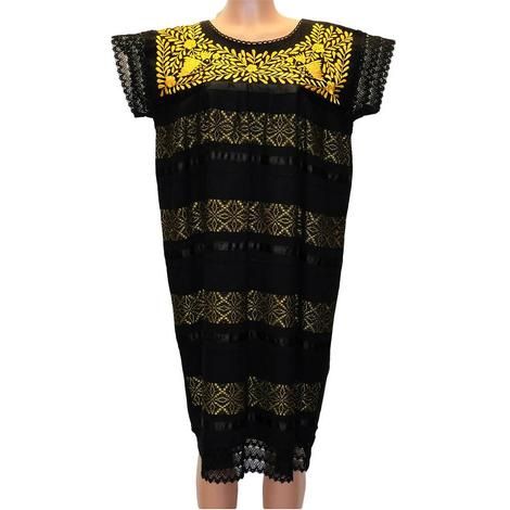 Black and Assorted Color Laced Mexican Embroidered Dress