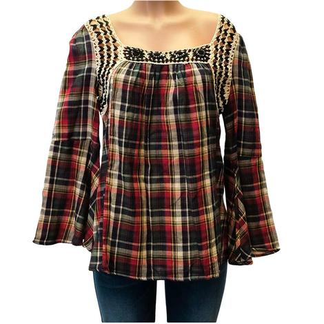 Plaid Crochet Bell Sleeve Women's Top