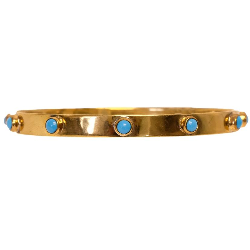 Graham Brass Bangle Bracelet - Lapis, Blue Turquoise, Pink Opal