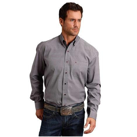 Stetson Wine Button Down Men's Long Sleeve Shirt