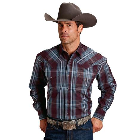 Stetson Wine Grey Plaid Snap Long Sleeve Men's Shirt