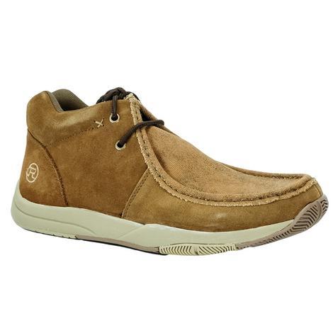 Roper Suede Lace Up Casual Tan Canvas Men's Shoe