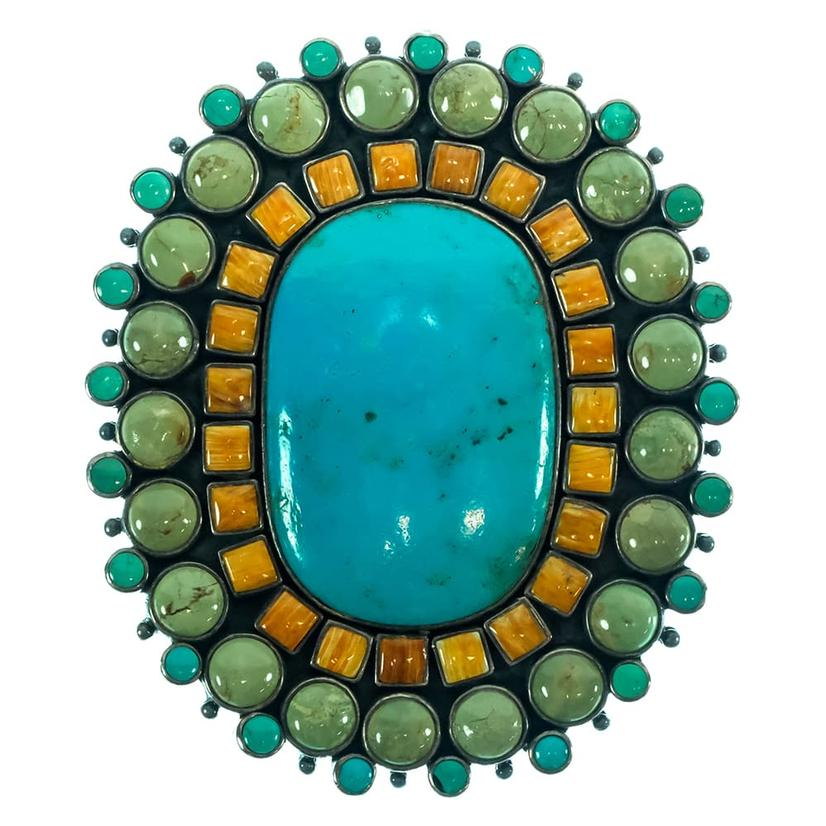 Acorn Leaf Pattern Leather Belt With Oval Turquoise Coral Triple Layer Buckle