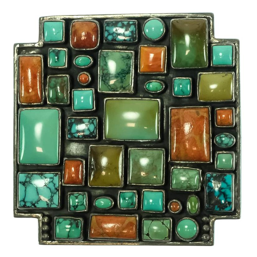 Turquoise And Precious Stone Geometric Buckle And Leather Belt