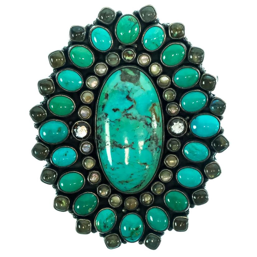 Genuine Turquoise Oval Tan Leather Women's Belt