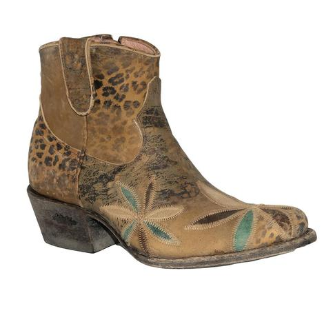 Miss Macie Pedal Pusher Brown Shortie with Turqoise Cream Chocolate Flower Women's Boots
