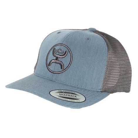 81051c5fe540c Hooey Classic Light Blue and Grey Circle Logo Meshback Cap