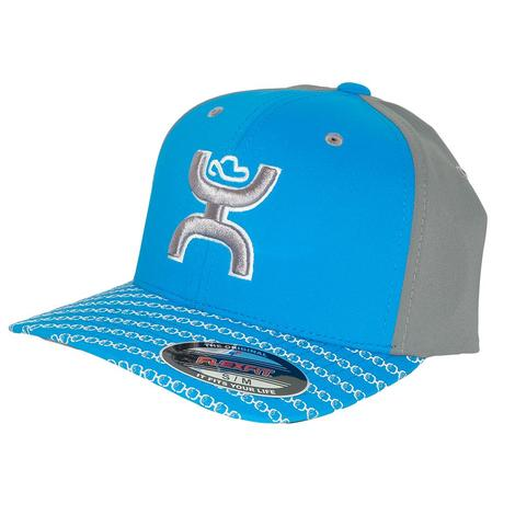 Hooey Solo Blue and Grey Logo Flexfit Solo Cap