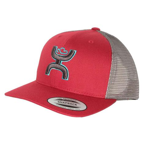 Hooey Red Grey Original Logo Meshback Cap