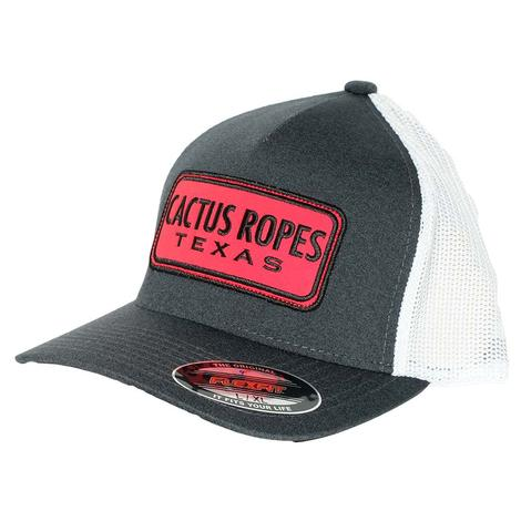 Red Cactus Ropes Bison Grey and White Meshback Cap