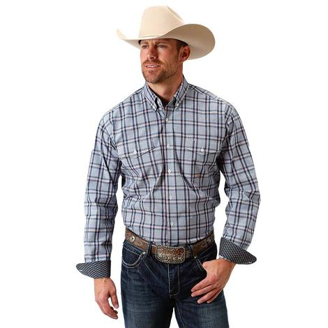 Roper Blue Plaid 2 Pocket Long Sleeve Button Down Men's Shirt